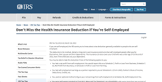irs don t miss the health insurance deduction if you re self