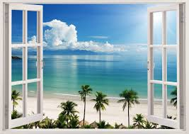 Small Picture 3D Window Decal Wall Sticker Home Decor Exotic Beach View Art