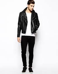 men s black leather biker jacket white crew neck t shirt black jeans black leather low top sneakers men s fashion lookastic com