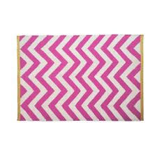 tribeca chevron rug cream and fuchsia with yellow edge