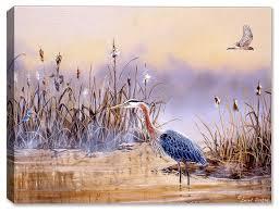 blue heron in wetlands painting by decker 30 x24 fine