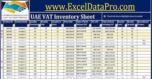 Vat Calculation Formula In Excel Download Download Uae Vat Inventory Management Excel Template
