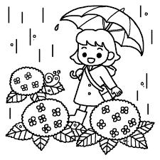 女の子とアジサイ白黒つゆ梅雨の無料イラスト夏の季節行事保育