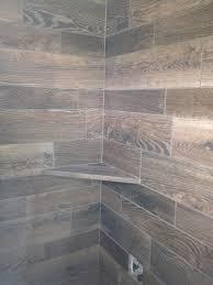 grey wood tile shower