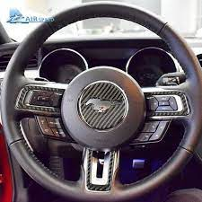 Airspeed Carbon Fiber Steering Wheel Emblem For Ford Mustang Car Stickers Car Styling 2015 2016 2 Ford Mustang Accessories Mustang Accessories Ford Mustang Car