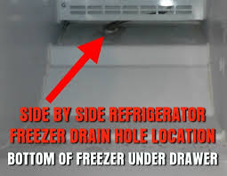 freezer drain hole location on side by side