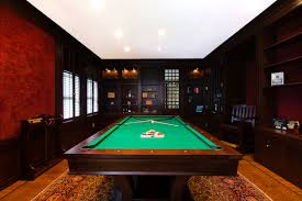 Home Interiors:Wooden Billiard Room Showing Rustic Design Outstanding Game  Room Design Showing Masculine Interior