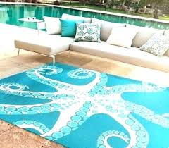 indoor outdoor nautical rugs beach house vinyl area rug mariners blue octopus runner