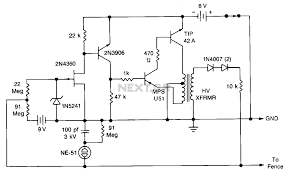 electric fence circuit diagram the wiring diagram security > various circuits > solid state electric fence charger circuit diagram