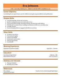 babysitting resume template 3 free ba sitter resume samples in .
