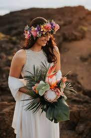 Maui Floral Design Hawaiian Sunrise Elopement At Haleakala National Park Maui