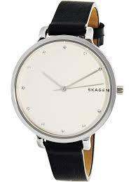 skagen women s hagen skw2581 silver leather quartz dress watch 0