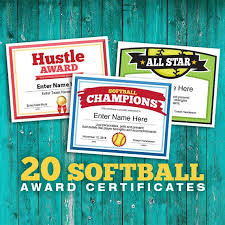 Name A Star Certificate Template Custom Softball Certificates 48 Editable Awards Templates Etsy