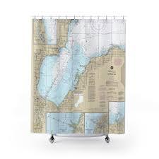 Saginaw Bay Lake Huron Nautical Chart Shower Curtains