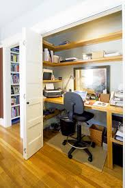 home office in a closet. Office In Closet Ideas. Home, Home Ideas Wooden Desk With A