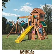 swing n slide wood complete jamboree fort swing set kit pb 8328