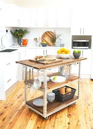kitchen island butcher block on galvanized pipe with casters industrial seating