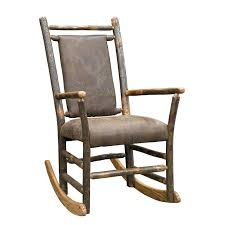 rustic hickory rocking chair with faux brown leather seat and back rustic rocking chairs rustic rocking rustic hickory and oak rocking chair