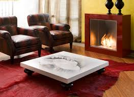 Coffee Table Painting Living Room Simple Stylish White Coffee Table With Painting On