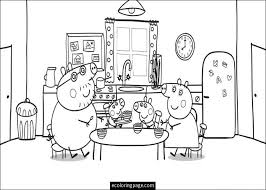 Small Picture peppa pig and family eating coloring page for kids printable THL