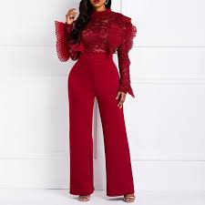 Clocolor <b>Women</b> Jumpsuits Long Sleeve Sexy See Through Red ...