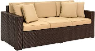 Best Choice Products 3 Seat Outdoor Wicker Patio Sofa W Removable Cushions Brown Garden Outdoor