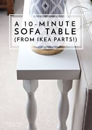 sofa table ikea. Need A Quick And Easy Sofa Table Without The Hassle Of Tools Lumber?  This One Comes Together In Just 10 Minutes Using Off-the-shelf Items From IKEA! Ikea I