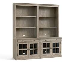 livingston bookcase wall suite with glass doors gray wash pottery barn