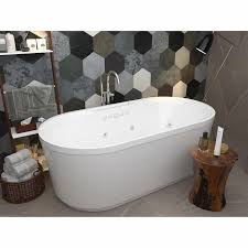 Bathroom, Best Soaking Tub Costco With Wooden Shelving Rattan Basket Box  And Wooden Table In ...