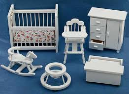 Blue nursery furniture Colored Click Here For Larger View Factory Direct Craft Dollhouse Miniature White Wood Baby Nursery Furniture Pc Set