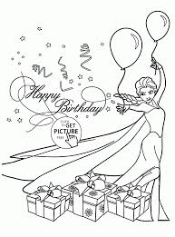 Happy Birthday Card With Elsa Coloring Page For Kids Holiday