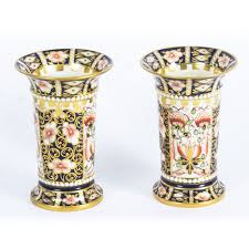 antique pair royal crown derby imari trumpet shaped spill vases 1919