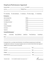 Restaurant Employee Performance Evaluation Form Free Examples Of Employee Evaluations Performance Evaluation