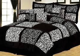 image of black and white leopard print bedding