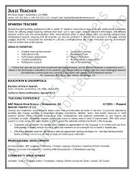 Spanish Teacher Resume Sample Teacher And Principal Resume
