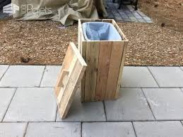 outdoor pallet wood. Modified Outdoor Pallet Wood Trash Can Home Accessories