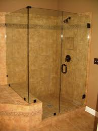 bathroom: Beige Accents Ceramic Tiles Wall For Bathroom Shower Idea With  Glass Enclosure And Bronze