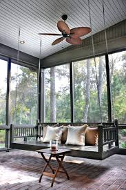 Cozy Outdoor Swing Bed For Modern Exterior Design With Recessed Lighting  And Round Hanging Porch Plans
