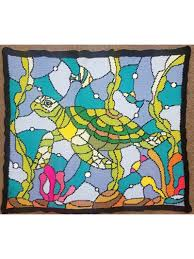 capture a sea turtle floating through the seaweed in this colorful design