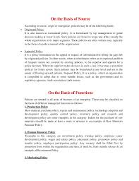 business policy example nature and importance of business policy