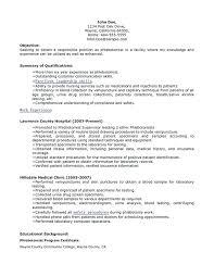 Sample Phlebotomy Resume Topshoppingnetwork Com