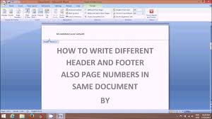 How To Write Different Header Footer Page No In Same Document Of Ms Word 2007