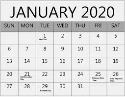 2020 Calendar With Us Holidays January 2020 Calendar With Holidays The Holiday Will Give