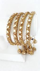 indian bridal jewelry golden bangle bracelet latkan hanging