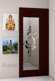 for pooja room door glass design