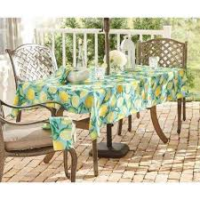 lemon grove stain resistant indoor outdoor tablecloth with umbrella hole