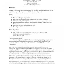 Good Objective For Internship Resume Example Of Summer Internshipme Objective For An Chemical Engineering 19