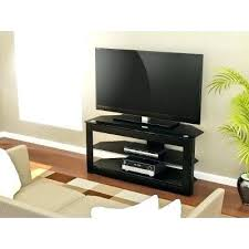 glass tv stand 55 inch oak and black
