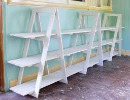 DIY Trestle Shelving Unit - I need to do this for WoolyHands - I need need  a new Farmer's Market display.