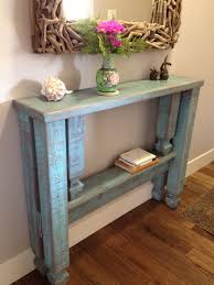 skinny hallway table. Blue Distressed Finish Narrow Entryway Table From Old Wood Having Small Shelf Under Unique Mirror On Wooden Floor Skinny Hallway
